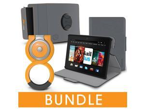 roocase Fire HDX 7 Orb Bundle, Folio Case Cover Stand for Kindle Fire HDX 7 with Orb Loop and Strap - Rotating and Detachable Fire HDX 7 Tablet Shell Case, Gray [Patented Orb System]