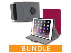 roocase iPad Mini Orb Bundle, Folio Case Cover Stand for Apple iPad Mini 4 / Mini 3 2 1 with Orb Strap Holder - Rotating and Detachable iPad Mini 4 / Mini 3 2 1 Tablet Shell Case, Magenta