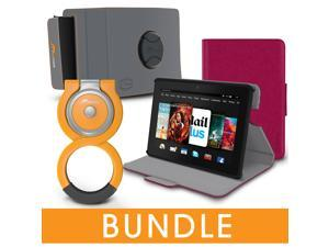 roocase Fire HDX 7 Orb Bundle, Folio Case Cover Stand for Kindle Fire HDX 7 with Orb Loop and Strap - Rotating and Detachable Fire HDX 7 Tablet Shell Case, Magenta [Patented Orb System]