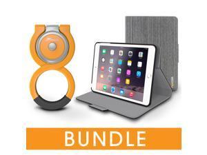 roocase iPad Mini Orb Bundle, Folio Case Cover Stand for Apple iPad Mini 4 / Mini 3 2 1 with Orb Loop Stand - Rotating and Detachable iPad Mini 4 / Mini 3 2 1 Tablet Shell Case, Canvas Gray