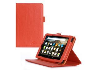 Fire 7 2015 Case, roocase Dual View Amazon Fire 7 2015 PU Leather Folio Case Cover with Stand for Amazon Fire 7 Tablet 2015, Orange