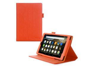 Fire HD 8 Case, roocase Dual View Amazon Fire HD 8 PU Leather Folio Case Cover Stand for All-New Amazon Fire HD 8 Tablet (2015), Orange