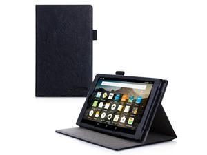 Fire 7 2015 Case, roocase Dual View Amazon Fire 7 2015 PU Leather Folio Case Cover with Stand for Amazon Fire 7 Tablet 2015, Black
