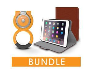 roocase iPad Mini Orb Bundle, Folio Case Cover Stand for Apple iPad Mini 4 / Mini 3 2 1 with Orb Loop Stand - Rotating and Detachable iPad Mini 4 / Mini 3 2 1 Tablet Shell Case, Brown