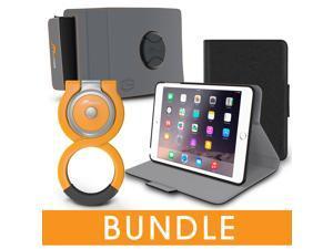 roocase iPad Mini Orb Bundle, Folio Case Cover Stand for Apple iPad Mini 4 / Mini 3 2 1 with Orb Loop and Strap - Rotating and Detachable iPad Mini 4 / Mini 3 2 1 Tablet Shell Case, Black
