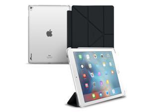 iPad Pro 9.7 Case, Apple iPad Pro 9.7 Folio Case, roocase Origami Slim Shell Frost Back Folio Case Smart Cover with Auto Sleep/Wake Feature for 9.7-inch iPad Pro, Black
