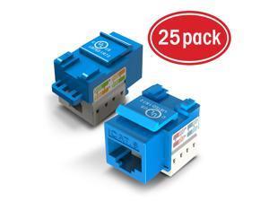 25-Pack Ethernet Keystone, GearIT Cat6 RJ45 Punch-Down Keystone Jack Connector, Blue