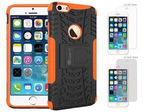 iPhone 6 Case Bundle (Case + Screen Protectors), roocase iPhone 6 4.7 TRAC Armor Hybrid Dual Layer Rugged Case Cover with Kickstand with 4-Pack Screen Protector for Apple iPhone 6 4.7-inch, Orange