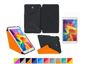 "Galaxy Tab 4 7.0"" Case, rooCASE Origami 3D Slim Shell Case [Granite Black/rooCASE Orange] Folio Cover Bundle with HD Clear Screen Guard for Samsung Galaxy Tab 4 7.0"