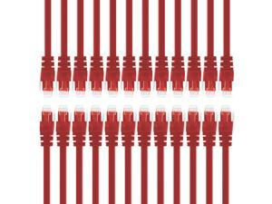 GearIt 24-Pack, Cat5e Cat 5 Ethernet Patch Cable 0.5 Feet - Snagless RJ45 Computer LAN Network Cord, Red - Compatible with 24 48 Port Switch POE Rackmount 24port Gigabit