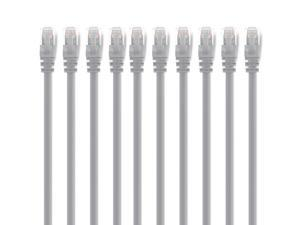 GearIt 10-Pack, Cat5e Cat 5 Ethernet Patch Cable 10 Feet - Snagless RJ45 Computer LAN Network Cord, Gray - Compatible with 10 Port Switch POE 10port Gigabit