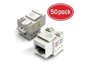 50-Pack Ethernet Keystone, GearIT Cat6 RJ45 Punch-Down Keystone Jack Connector and Keystone Punch-Down Stand, White