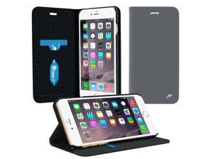 iPhone 6s Plus Case, roocase [Esteem Folio] iPhone 6 Plus Wallet Case - Premium Soft Twill Wallet Case Flip Cover with Stand and Card ID Holders for Apple iPhone 6 Plus / 6s Plus, Space Gray