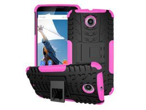 Nexus 6 Case - roocase [TRAC Armor] Hybrid Nexus 6 2014 Dual Layer Rugged Case Cover with Kickstand roocase for Google Nexus 6 Phone 5.9-inch (2014), Magenta