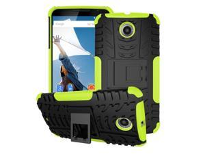 Nexus 6 Case - roocase [TRAC Armor] Hybrid Nexus 6 2014 Dual Layer Rugged Case Cover with Kickstand roocase for Google Nexus 6 Phone 5.9-inch (2014), Green
