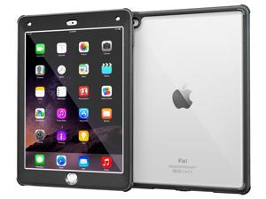 iPad Air 2 Case, Apple iPad Air 2 Clear Case, rooCASE Glacier Tough Built-in Screen Protector Clear Back Rugged Impact Resistant Case Cover for iPad Air 2, Black