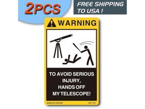 2PCS Nice Warning Decals Labels Sticker Sign for Celestron Telescope Box Tripod & Monocular Case ediom Hands off my Telescope No touching Yellow SIZE 2.5''x4''