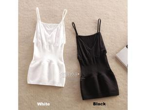 2PCS Women Tunic Camisoles V-Neck Spaghetti Strap Bodyshaper Soft Tank Top Tanks Tops Camisole apparel costume garment dress clothes clothing White size M