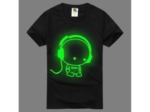 2PCS fashion Luminous Fluorescent T Shirts T-Shirt Tee Top round collar crew neck short sleeves costume costumes apparel clothes tops Summer Cotton for Lovers couples familys Black unisex SIZE M