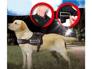 New Adjustable Padded Soft Durable Harness For Dog Side Buckle Reflective Stitching Hand Grip Black M