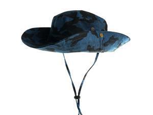 1PC New Men Women Unisex 100% Cotton Camo String Bucket Hat Boonie Hunting Fishing Outdoor Sun Cap blue Camouflage