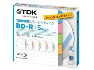 TDK Bluray Disc 25 gb BD-R 4x Index Series HD Discs 5 Pack in Jewel Cases