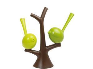 Koziol Piep 3108578 Salt & Pepper Set with a Brown Tree and Green Bird Salt Shakers, 1,73X7,09X6,50-Inch