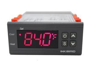 Inkbird All-Purpose Digital Temperature Controller Fahrenheit &Centigrade Display Thermostat w Sensor 2 Relays,Heating Cooling Control