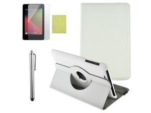 360 Rotating PU Leather Case Cover + LCD Film + Stylus For Google Nexus 7 1st generation White