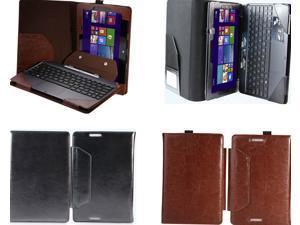 Leather Bluetooth Keyboard Portfolio Case Stand Cover For Asus Transformer Book T100 T100TA  Brown