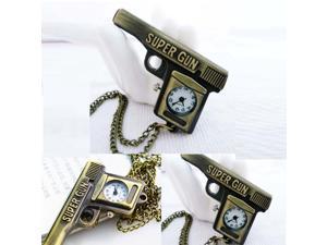 2014 New Cartoon Retro Quartz Bronze Gun pistol Pocket Watch Necklace