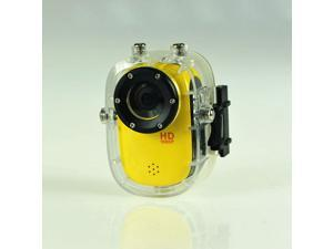 Mini Waterproof Sport Action Camera Helmet Camcorder SJ1000 Full HD 1080P 12MP Diving Motorcycle Bike Hunting DVR 140° Wide Angle Lens 32GB HDMI Car camera (Yellow)
