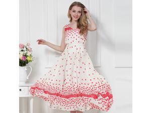 New Fashion Women White and Red Dots Seaside Round Neck Holiday Long Dress Chiffon Dress With Belt Feeding