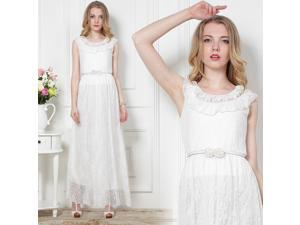 2014 New Summer Woman Full Lace Rose Double collar Lace Waist Dress With Belt