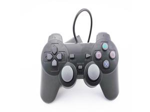 USB Wired Game Twin Dual Shock Controller Gamepad for PS2 Black 2.4G