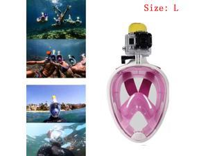 2016 Anti-fog Swimming Full Face Mask Diving Snorkel Scuba Camera Mount For GoPro Swim (Pink)