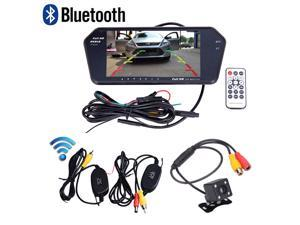 Bluetooth Ultra Slim 7'' Full Screen Car Rear View Monitor MP5 Player +  Wireless Backup Night Vision Rearview HD Waterproof ...