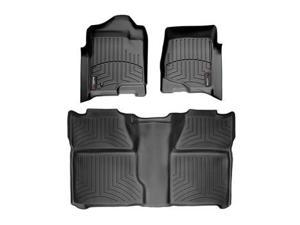 2014 Chevrolet Silverado Crew Cab 2500HD / 3500HD Black WeatherTech Floor Liners (Full Set: 1st & 2nd Row) [For models without 4x4 Manual Floor Shifter]
