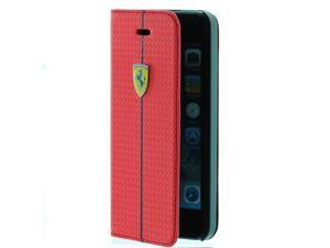 Ferrari Carbon Fiber Design Book Type Flip Case for iPhone® 5/5s (Red)