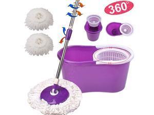 360 Degree Rotating Head Easy Magic Floor Mop & Spin Dry Bucket 2 Microfiberheads- No Foot Pedal - Purple