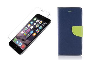 """iPhone 6 and 6S 4.7"""" Wallet Leather Flip Case and Premium Tempered Glass Screen Protector Film - Blue/Green"""