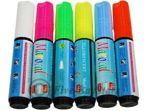 6 pcs Highlighter Fluorescent Liquid Chalk Marker Pen for LED Writing Board 10mm by Autolizer