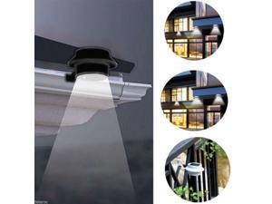 Black Solar Power Powered Outdoor Garden Light Gutter Fence LED Wall Bracket