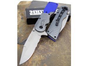 Milspec Saber Gray & Blue Holder Sawback Steel Assisted Opening Pocket Knife