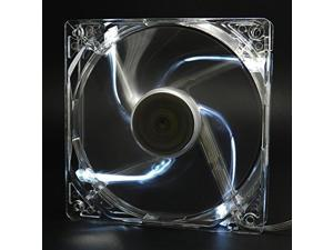 Autolizer Sleeve Bearing 120mm Silent Cooling Fan for Computer PC Cases, CPU Coolers, and Radiators - High Airflow, Quite, and Transparent Clear (White Quad 4-LEDs)