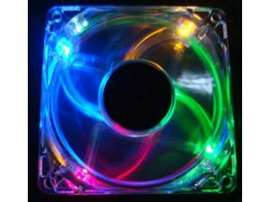 Autolizer Sleeve Bearing 120mm Silent Cooling Fan for Computer PC Cases, CPU Coolers, and Radiators - High Airflow, Quite, and Transparent Clear (Multi-Color RGB Quad 4-LEDs)