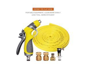 Vetroo 15m / 50ft Lay-Flat TPE Discharge Garden Hose Pipe (Copper Alloy) with Heavy Duty High Pressure Nozzle Sprayer (Yellow)