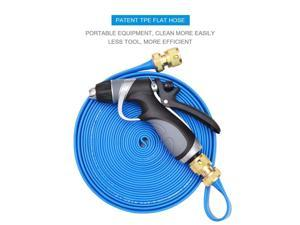 Vetroo 15m / 50ft Lay-Flat TPE Discharge Garden Hose Pipe (Copper Alloy) with Heavy Duty High Pressure Nozzle Sprayer (Blue)