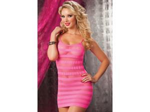 Pink Seamless Solid and Net Stripe Dress - One Size