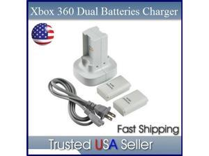 Controller Battery Charger + 2 Rechargeable Battery for XBOX 360 in white